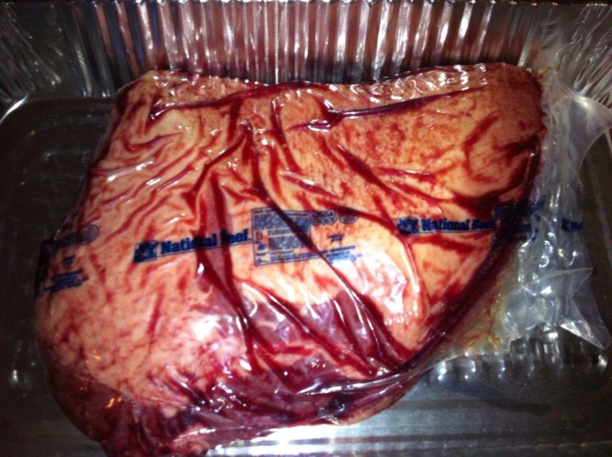 Beef brisket comes vacuum-packed