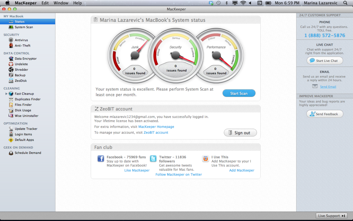 MacKeeper Home Screen.
