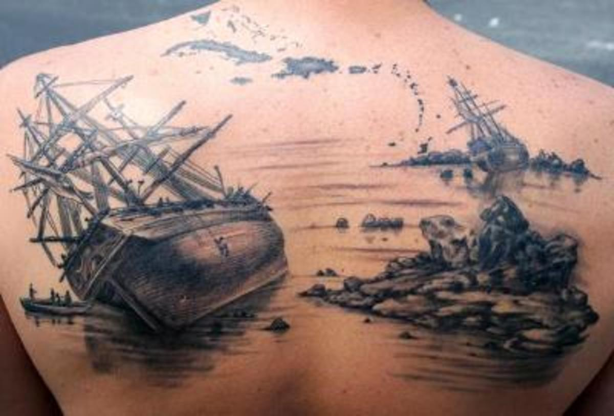 Ship and Shipwreck Tattoo Design