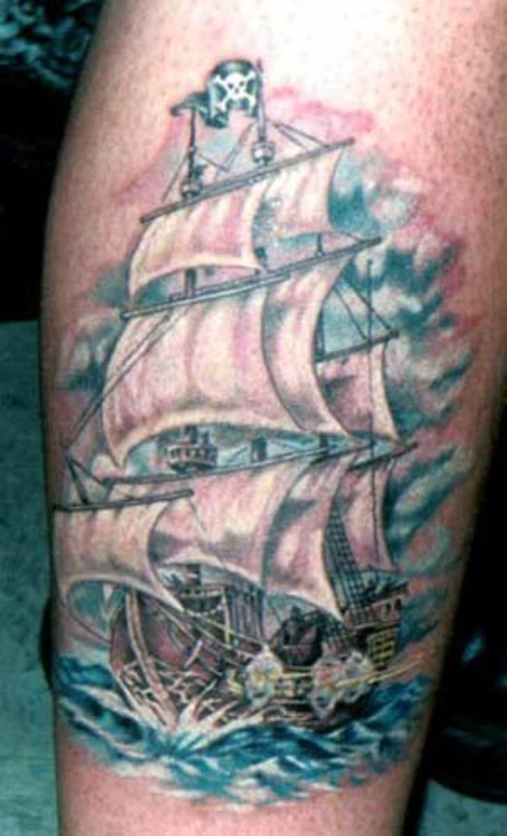 Ship Tattoo With Billowing Sails