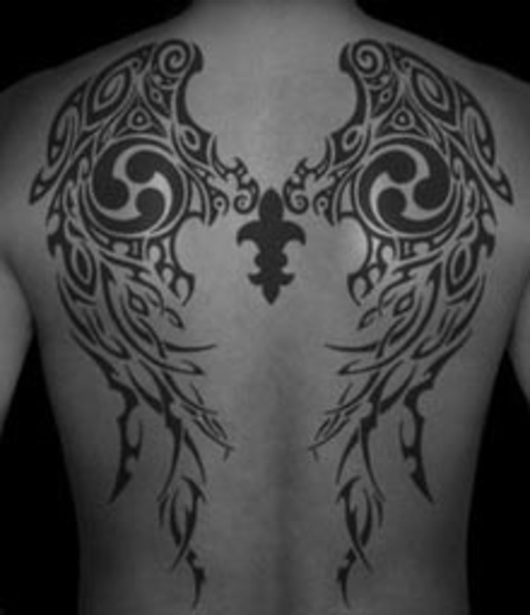 Tribal wings use the wing shape and fill in with symbols.