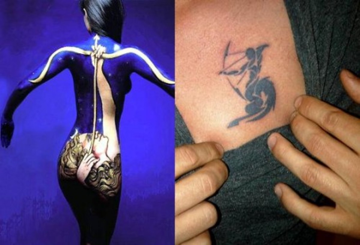 An elaborate and encompassing Sagittarius full-body tattoo compared to a simple one.