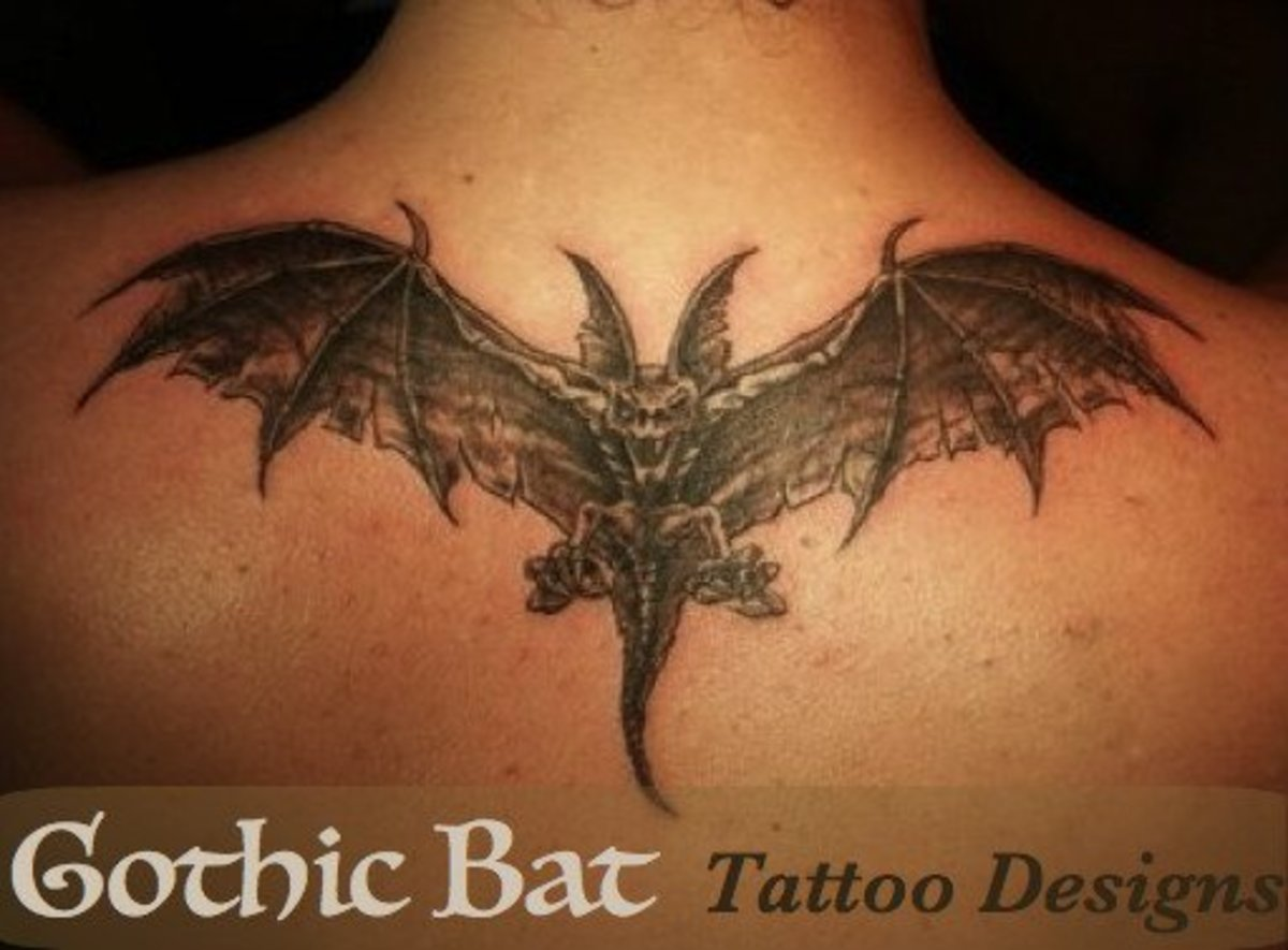 Gothic-style bat tattoos come in a wide variety of colors, styles, and sizes.