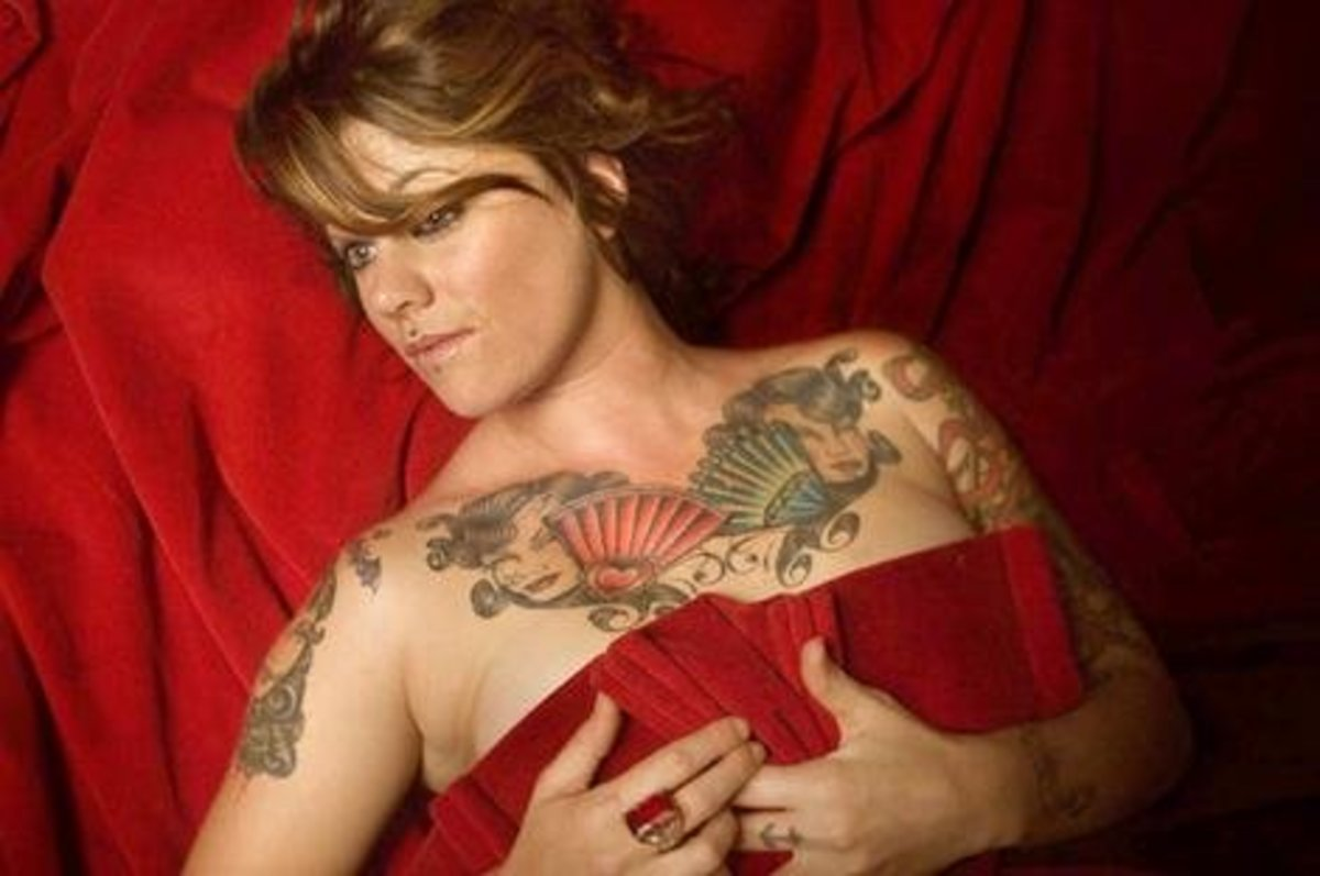Female with chest tattoo