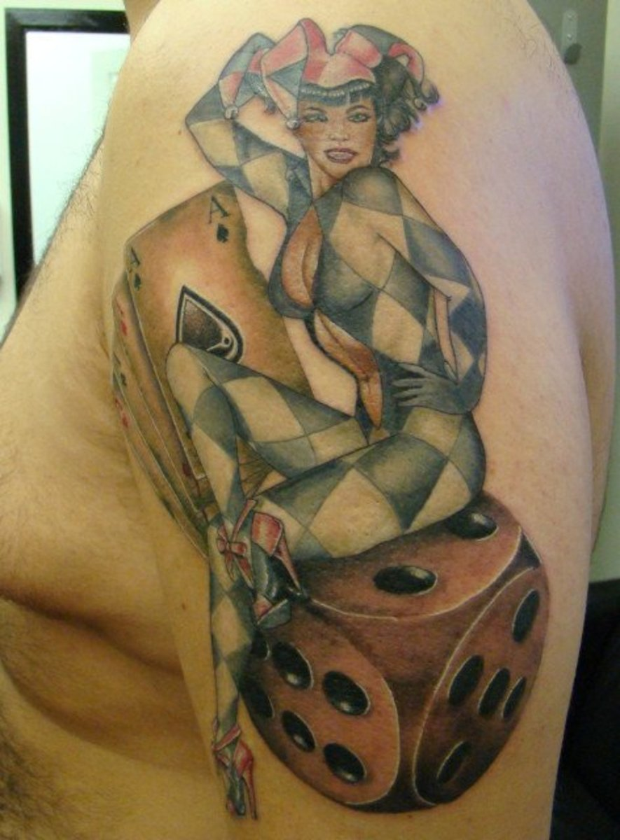 Joker Sitting on Dice Tattoo