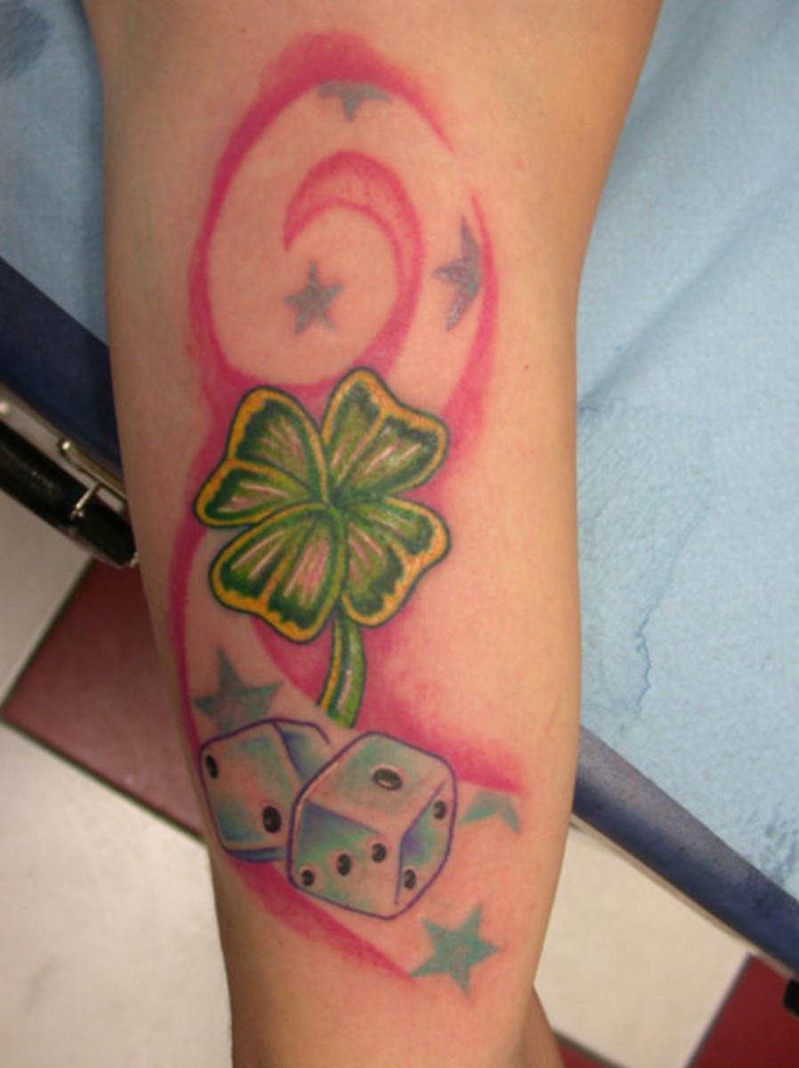 Dice and Shamrock Tattoo