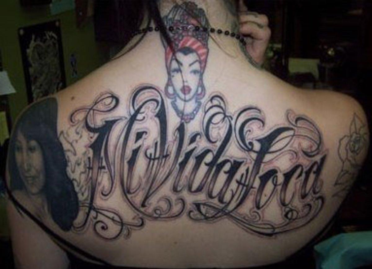 Back tattoos: Carmen Miranda and Mi Vida Loca
