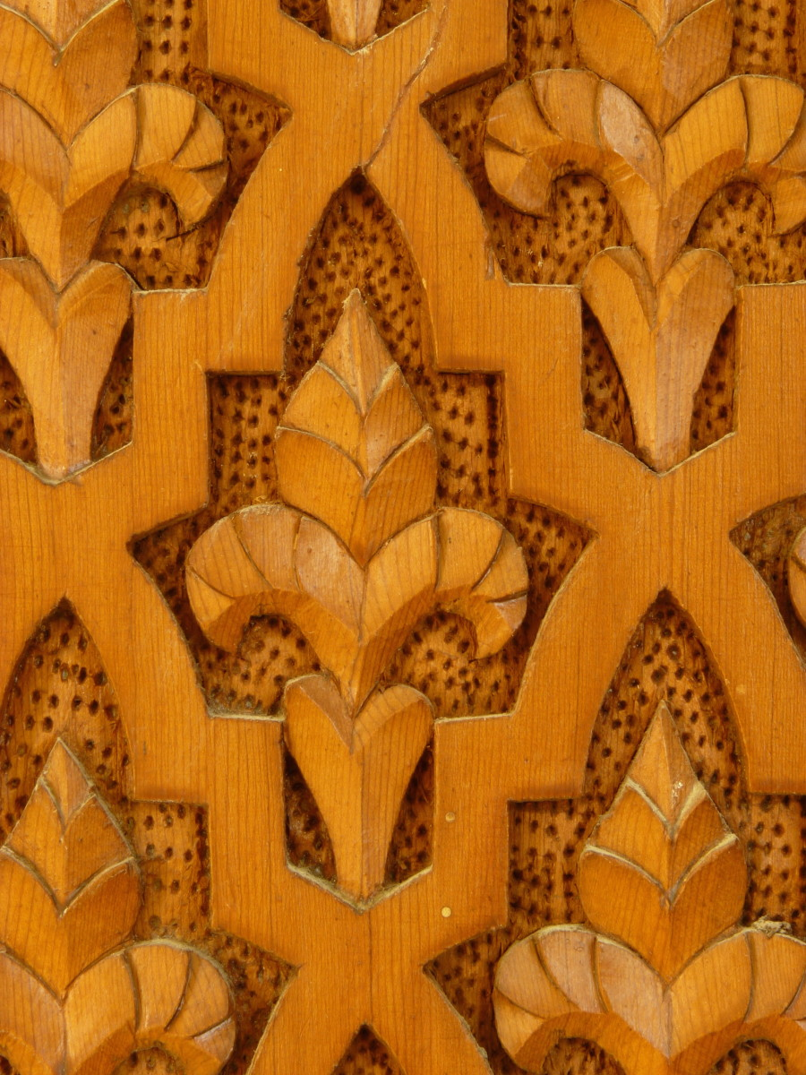 Fleurs-de-lis in a Moroccan wood carving
