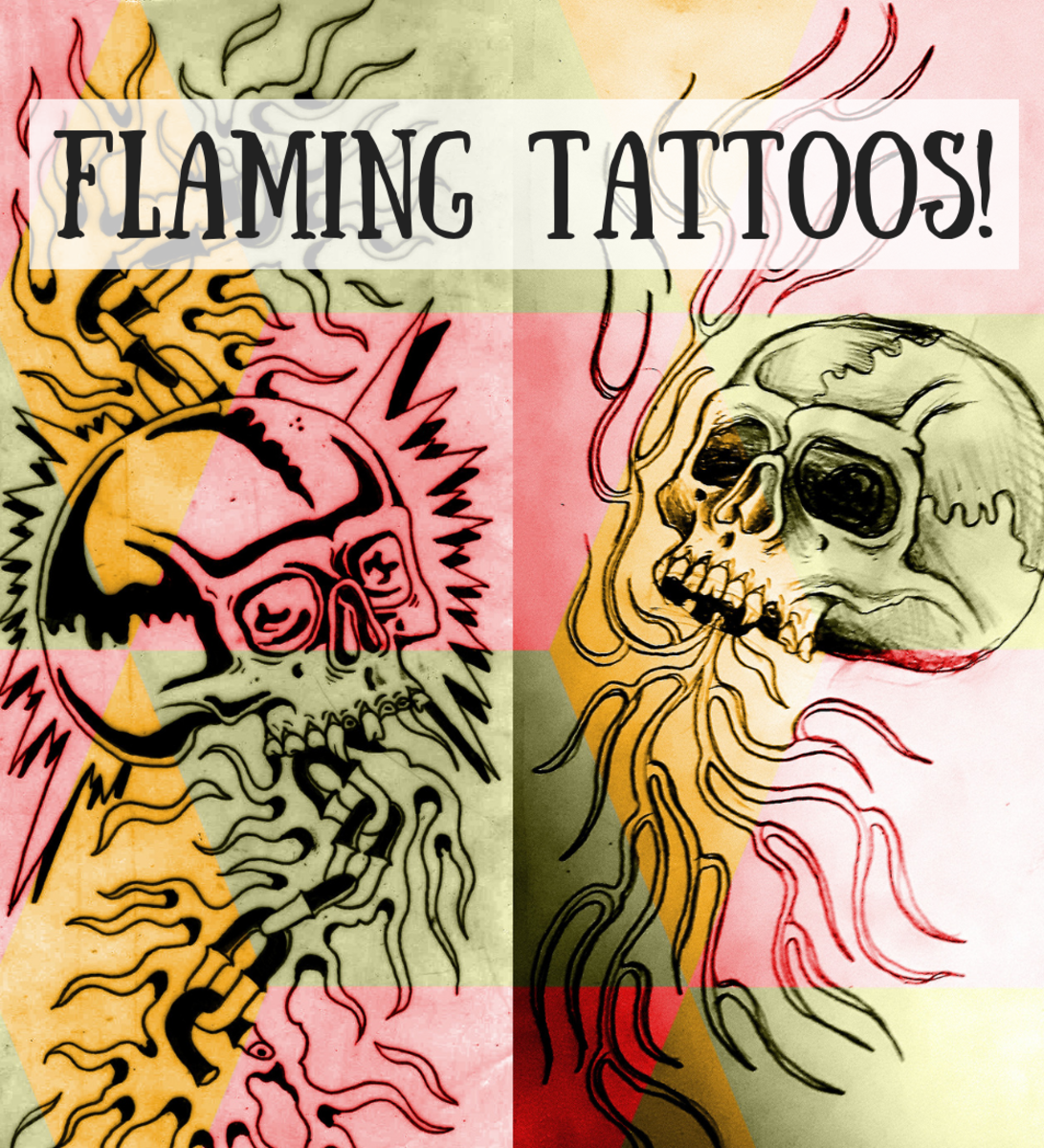 There are near-endless design ideas for tattoos that incorporate flames or fire. These two designs feature skulls with flames.