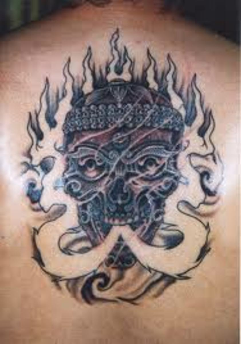 A flaming skull.