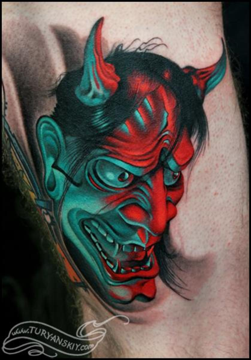Traditional Hanya Mask Tattoo: Mask Tattoo Designs Ideas And Meanings (With Pictures