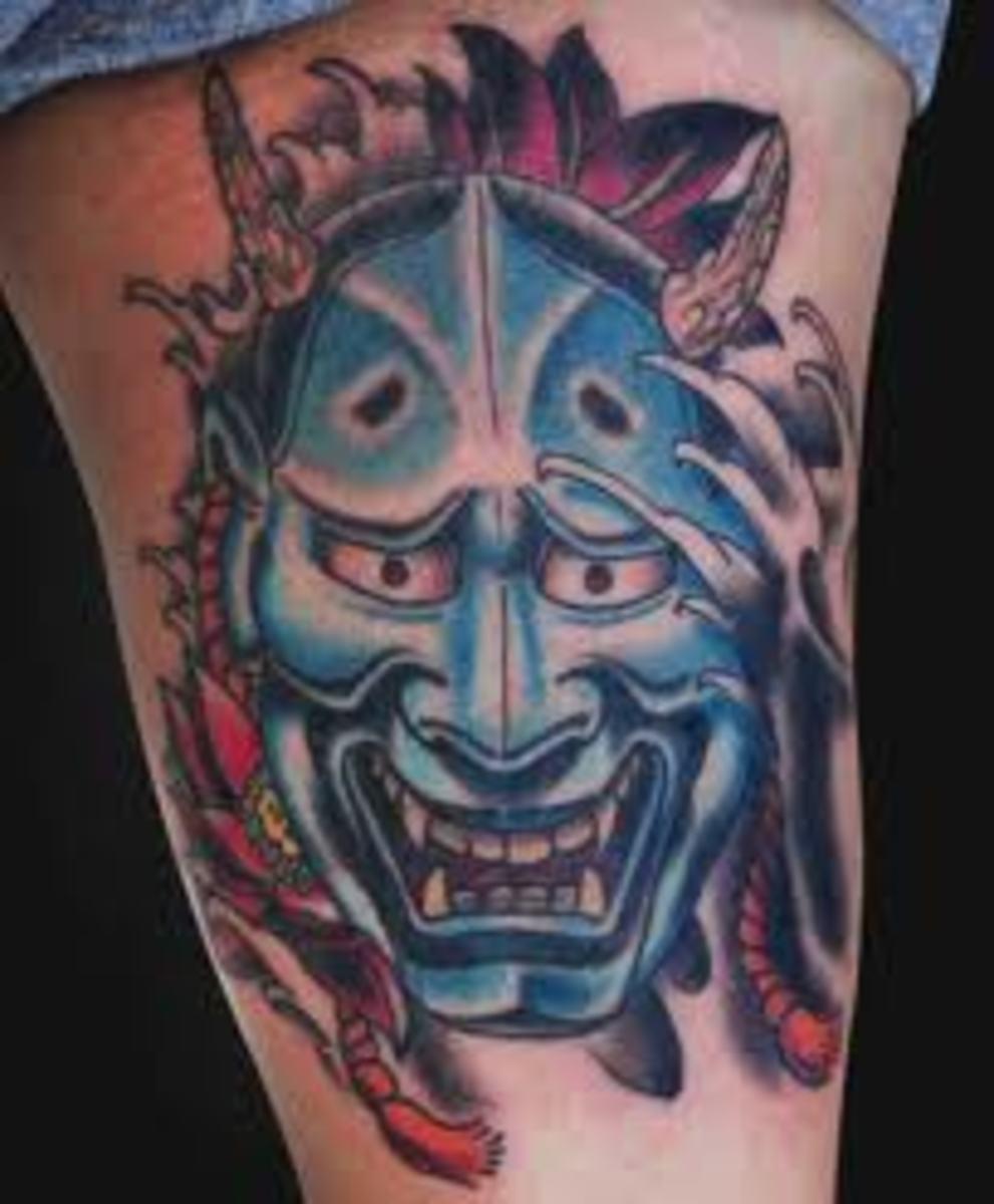 A blue hannya mask.