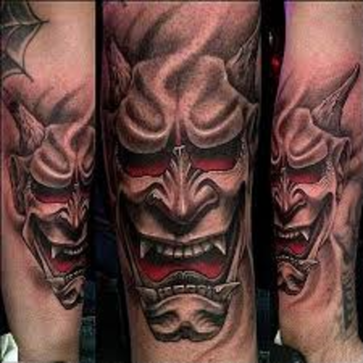 This hannya tattoo has a devilish appearance.