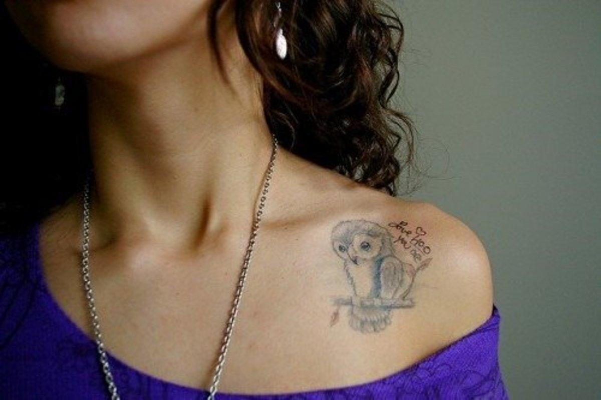Collarbone tattoos can be words, images, or any combination of the two.