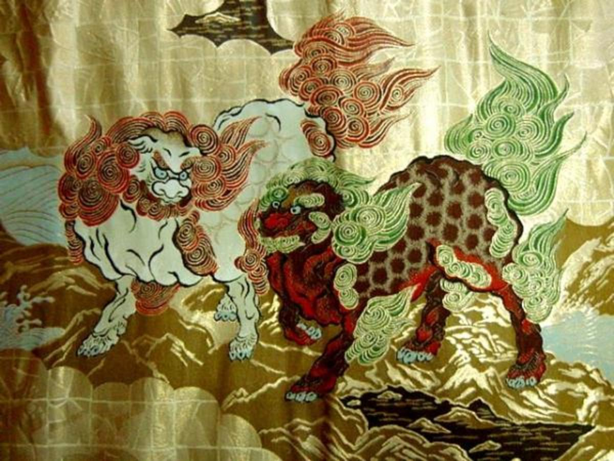 Karajishi brocade | A mix between a Dragon and a Foo Dog.