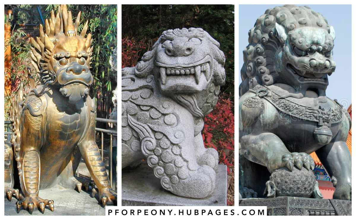 (Left to right) Xie Zhi, Haetae, Imperial Guardian Lions