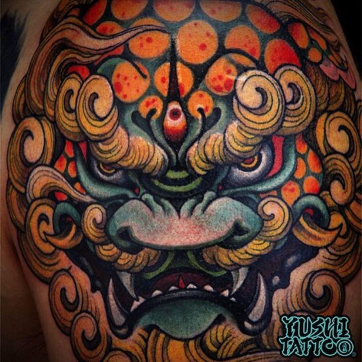 Shi shi/Stone Lion tattoo.