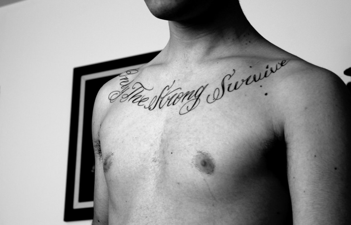 """Only the strong survive"" in a beautiful cursive."