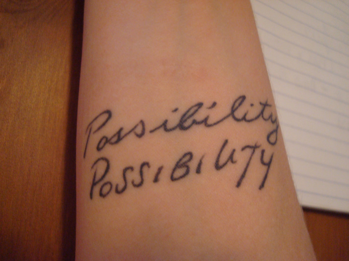 "The first ""possibility"" is in the wearer's mother's handwriting, and the second is in her father's."