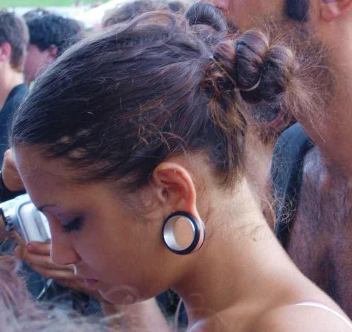 Stretched earlobes look cool whether you're a man or a woman.