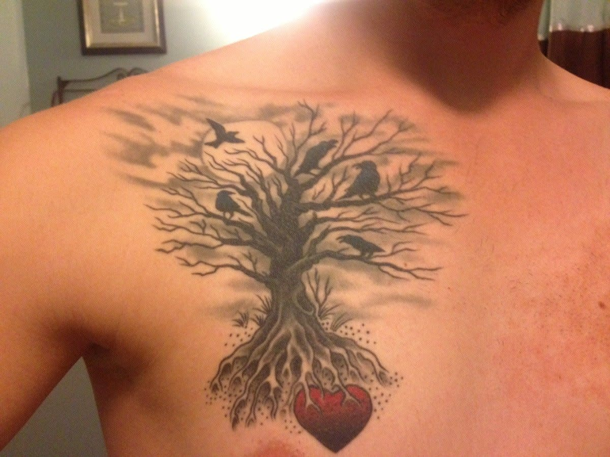 Family tree with heart at roots