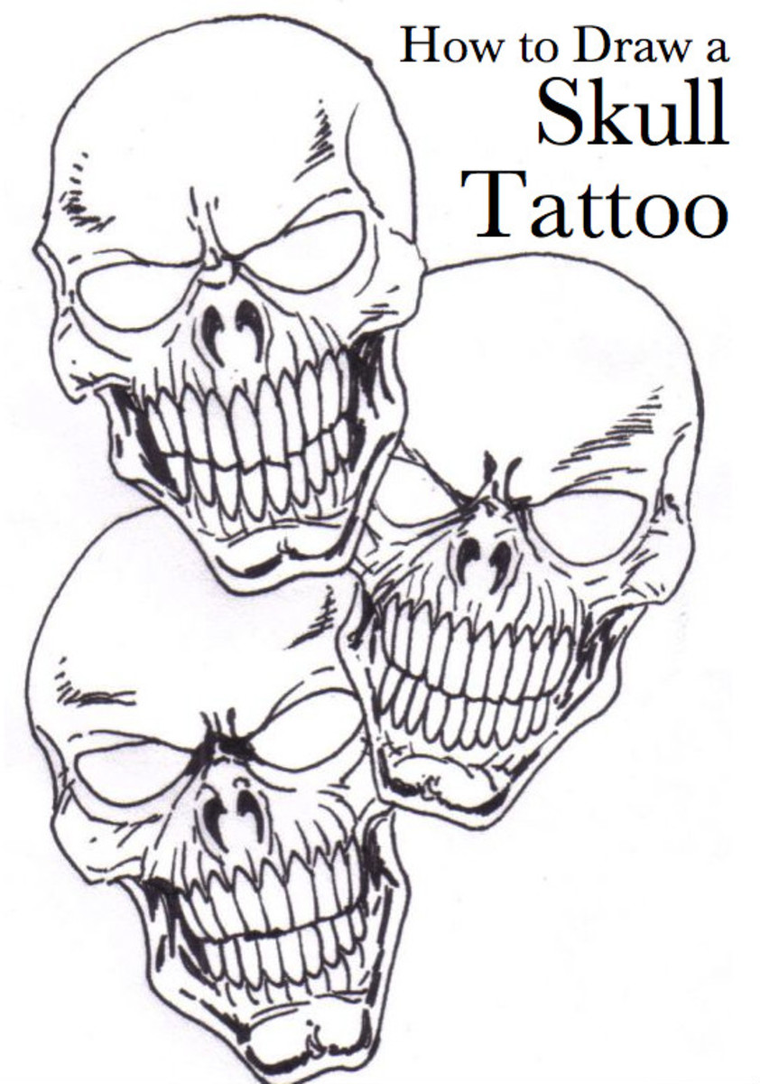 Skull tattoo concept drawing by Wayne Tully, 2010.