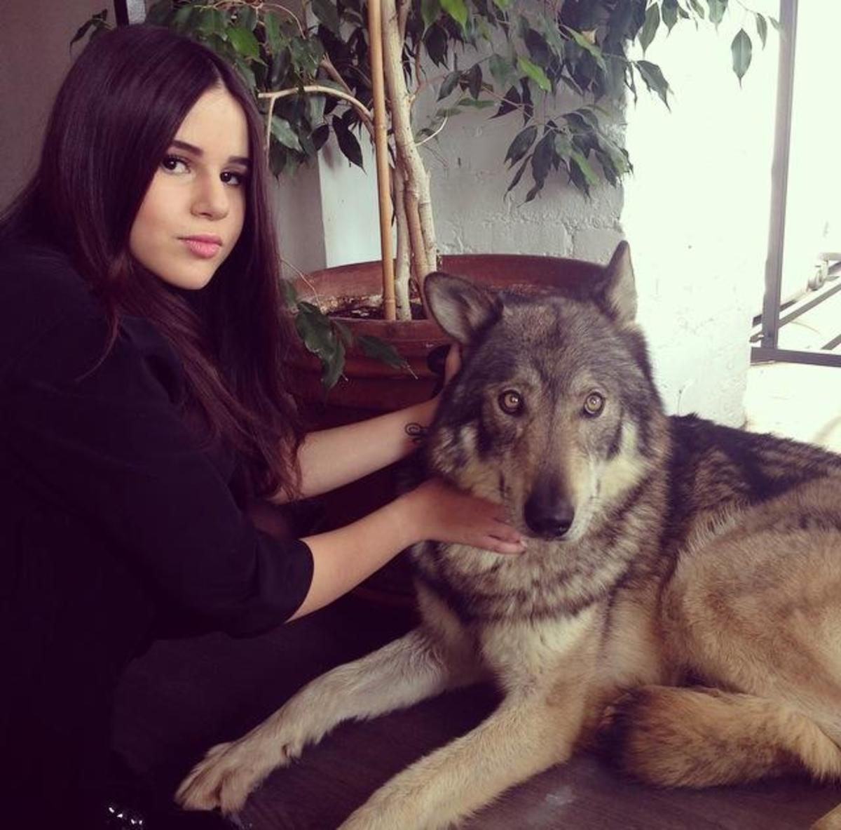 Marina Dalmas with her dog.