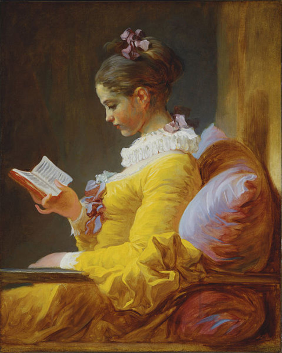 Now older, the once little girl is still reading.
