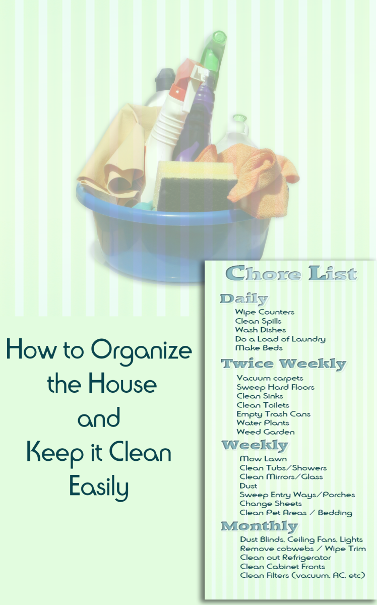 Learning how to organize and clean house on a regular schedule to make home maintenance easier.