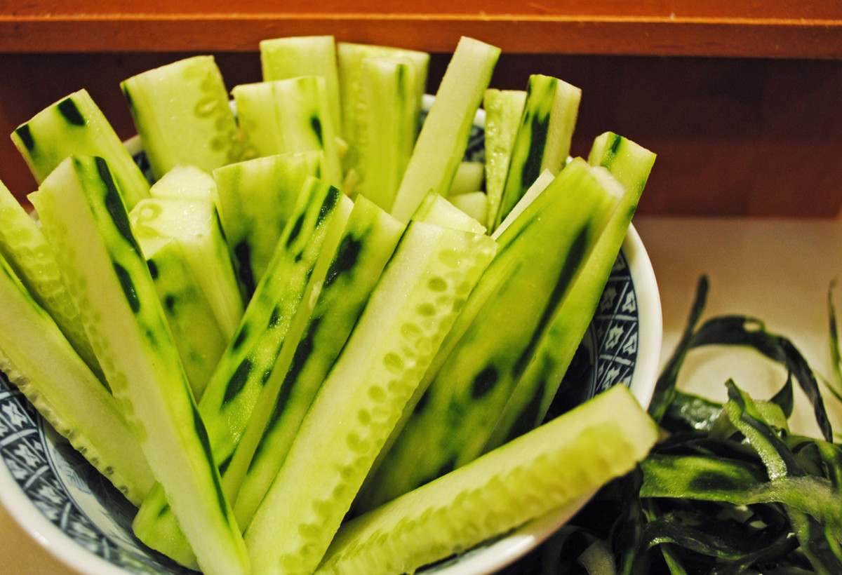 sliced cucumber makes a great addition to jugs of water at the dinner table