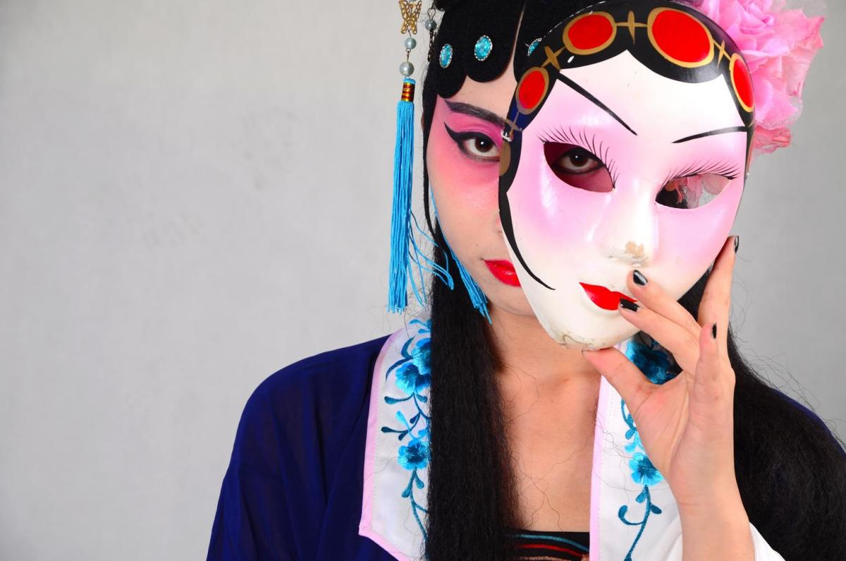 A mask portrayed in a Beijing opera performance.