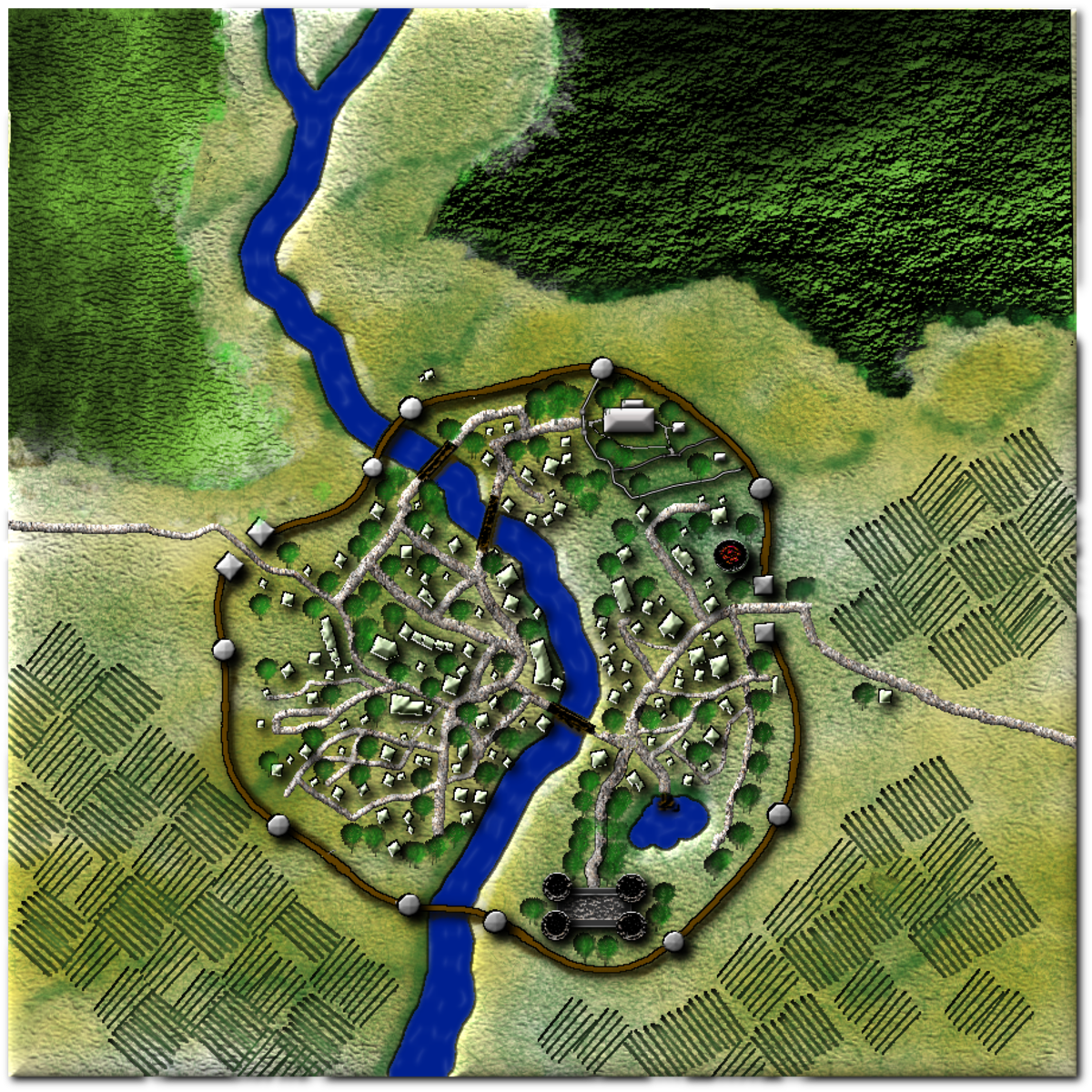 Creating Fantasy City Maps for Roleplaying Games With GIMP 2.8 (2.10.12)
