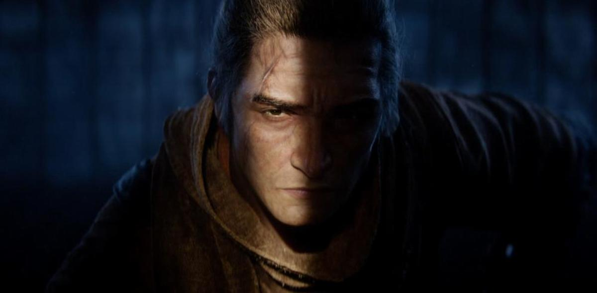 "The protagonist of ""Sekiro: Shadows Die Twice"" as he appears in an early scene."