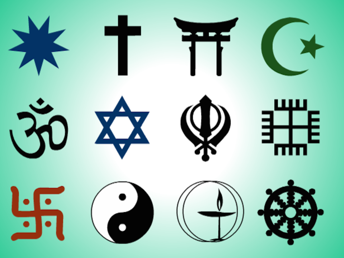 Can you identify the symbols of the 12 major religions?