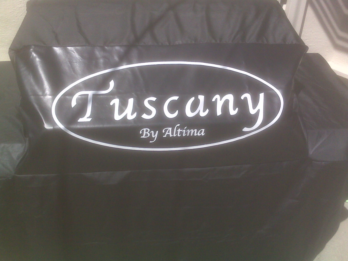 It has a nice barbecue cover, but the Tuscany by Altima logo is a little much. Although, at least it's easy to tell the front from the back of the cover.