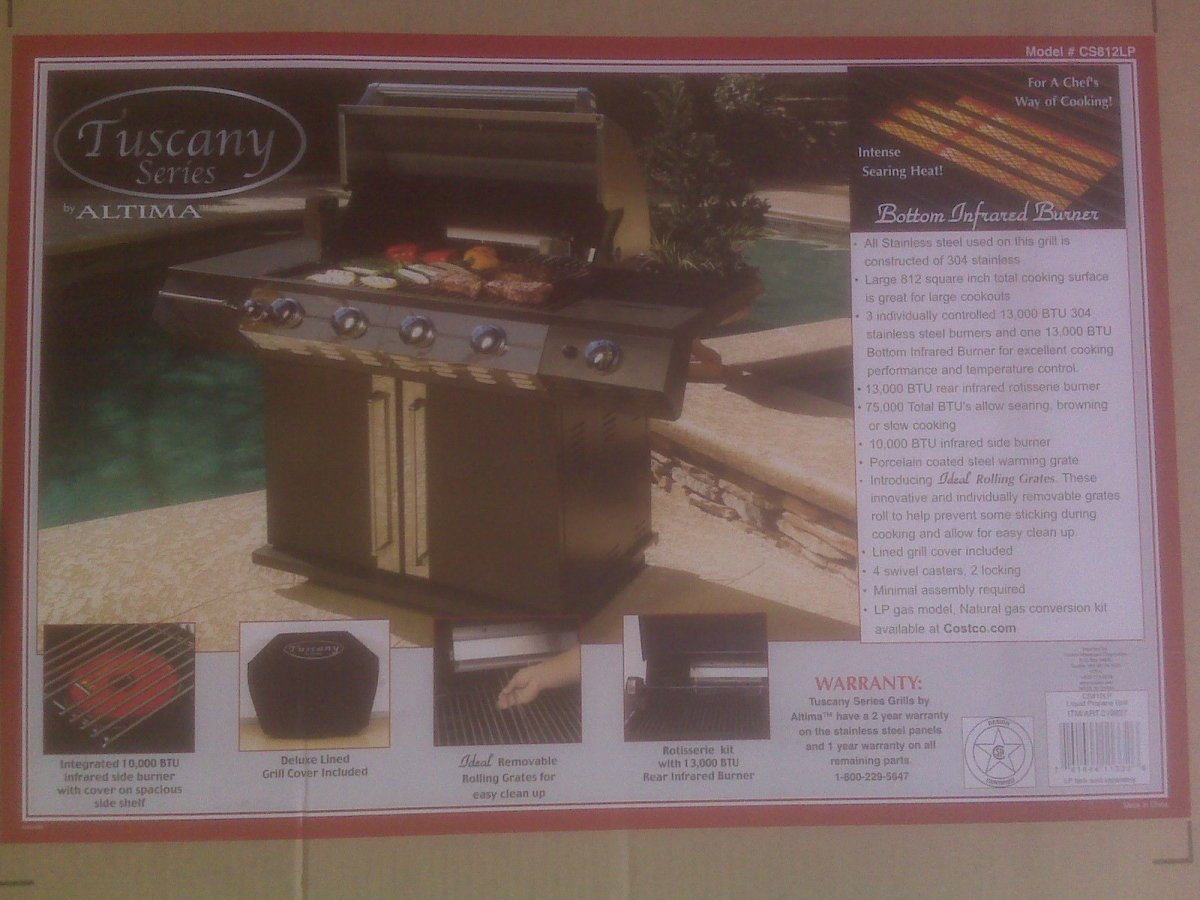 Tuscany Series Barbecue Gas Grill by Altima at Costco (Model # CS812LP) BBQ