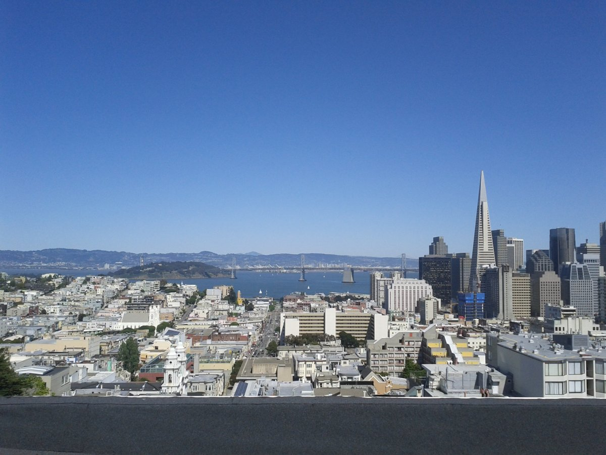 View from an apartment building rooftop in North Beach.