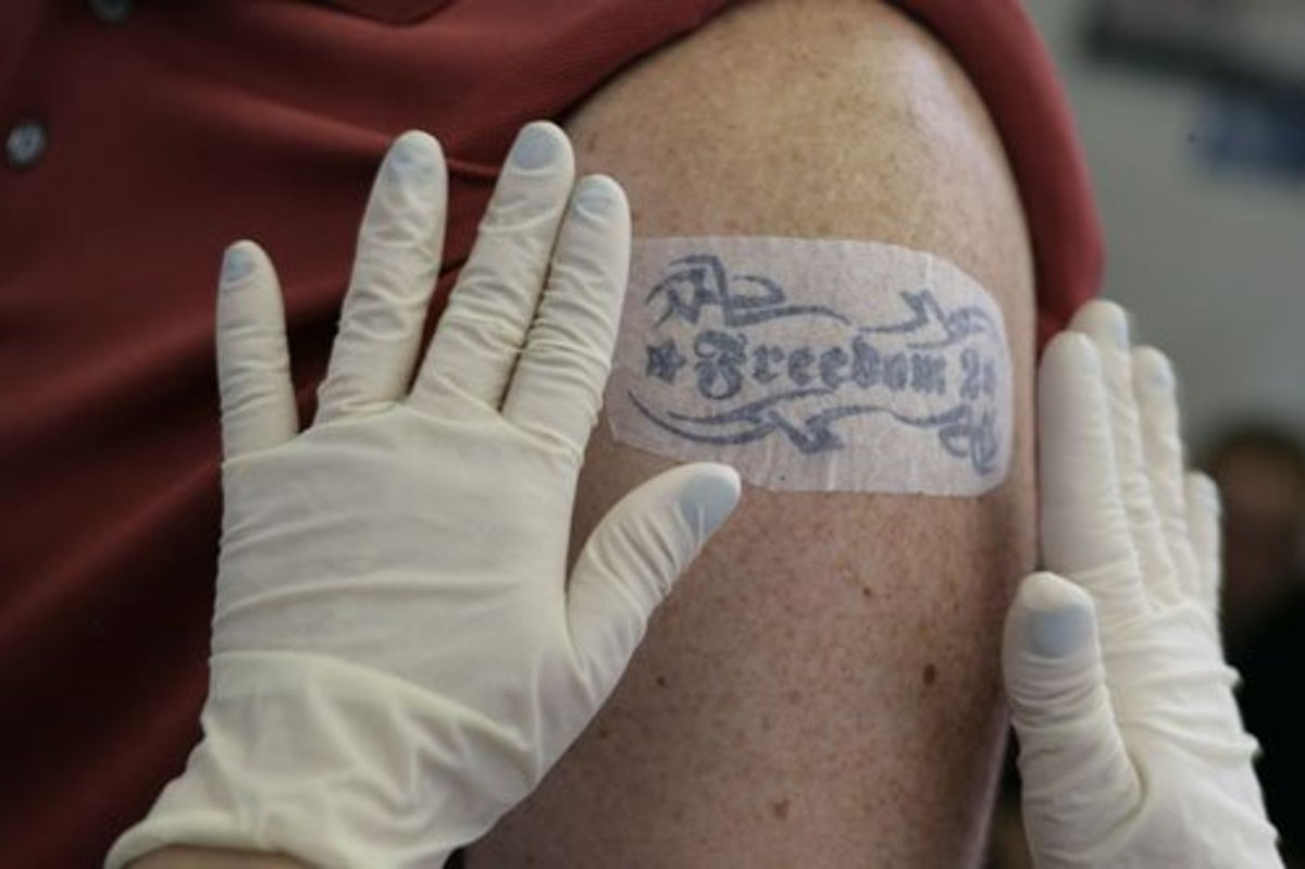 A stencil is applied to the skin to show the artist where to tattoo