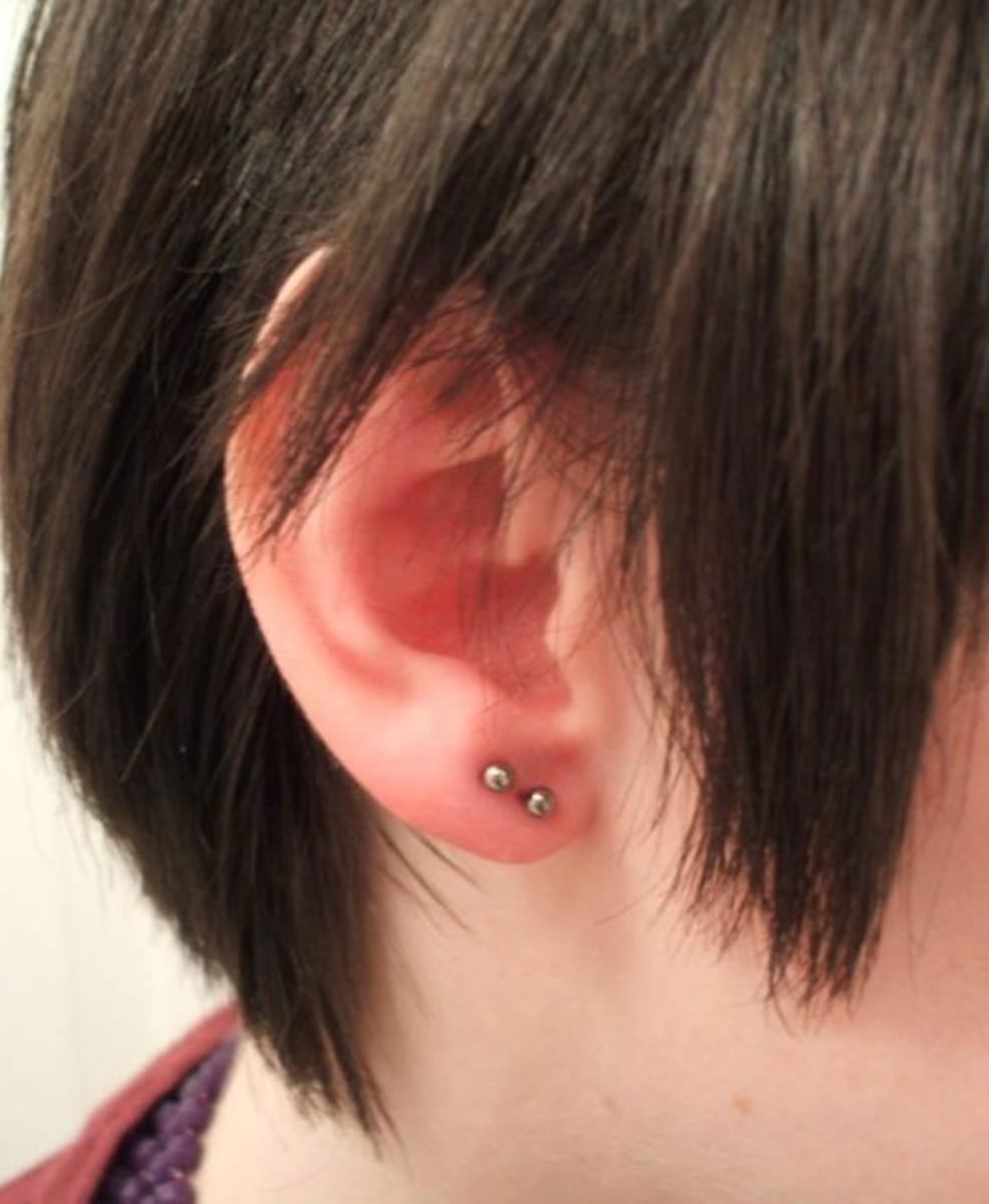Standard single earlobe piercing.