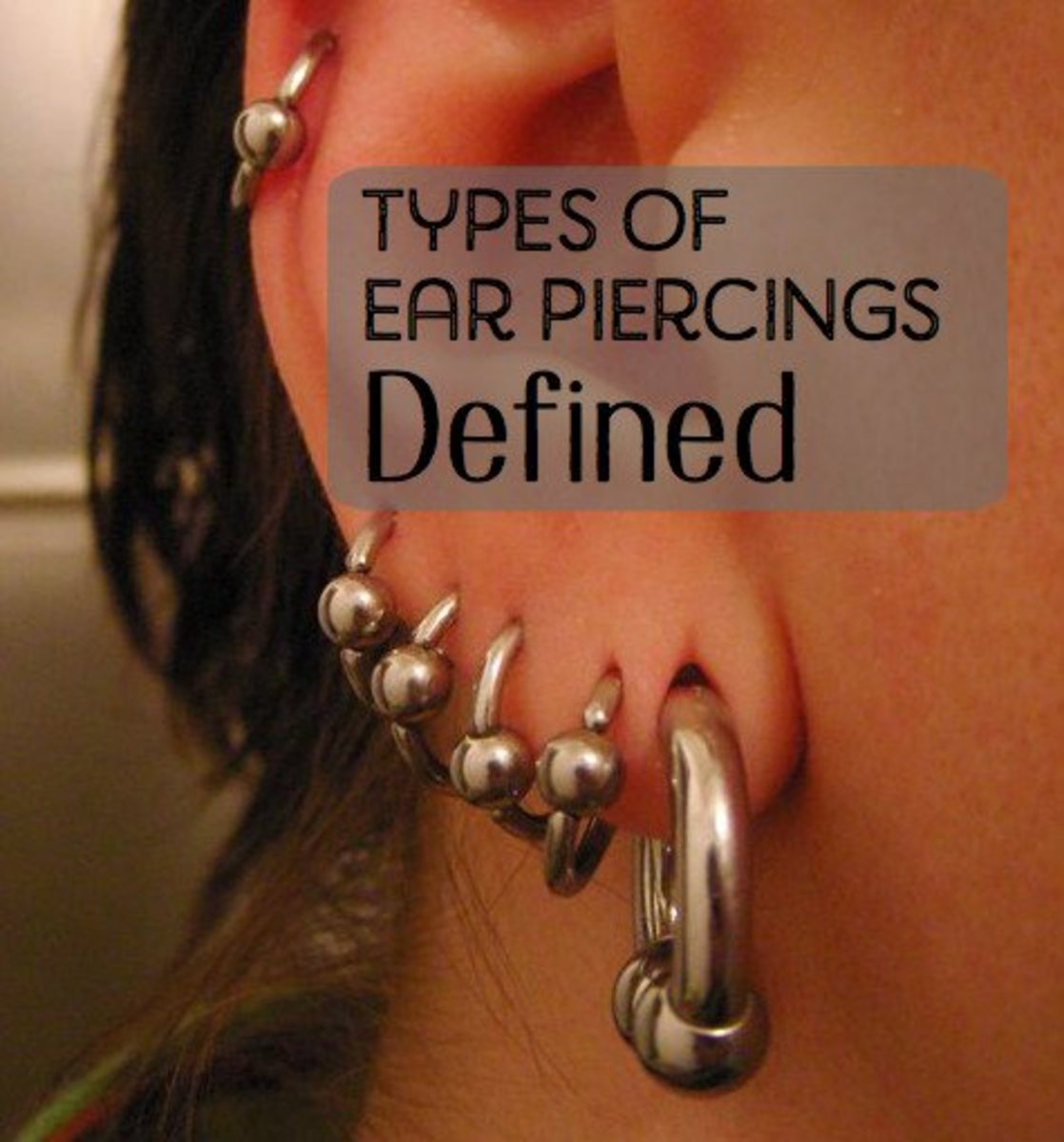 Find out where tragus, anti-tragus, conch, and daith piercings are and how long they take to heal.