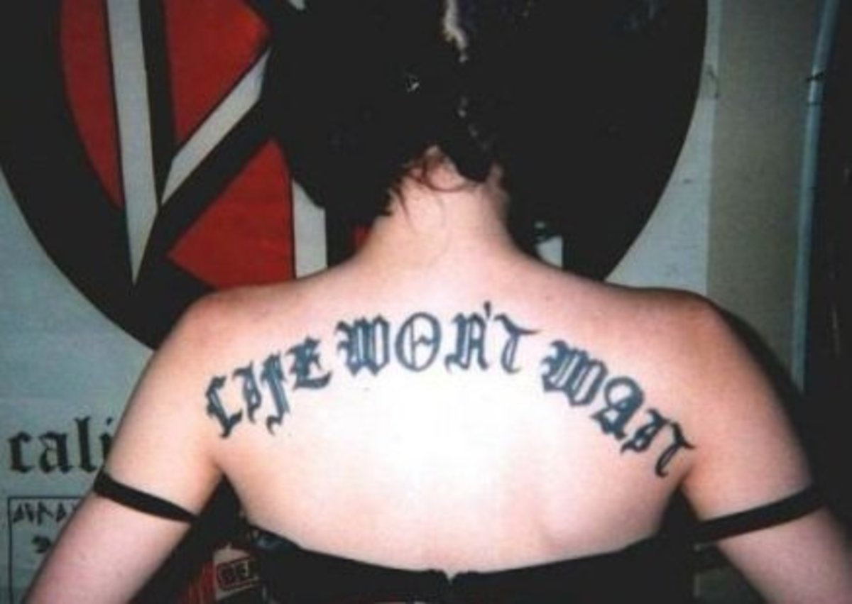 """Life Won't Wait"" done in Old English font"