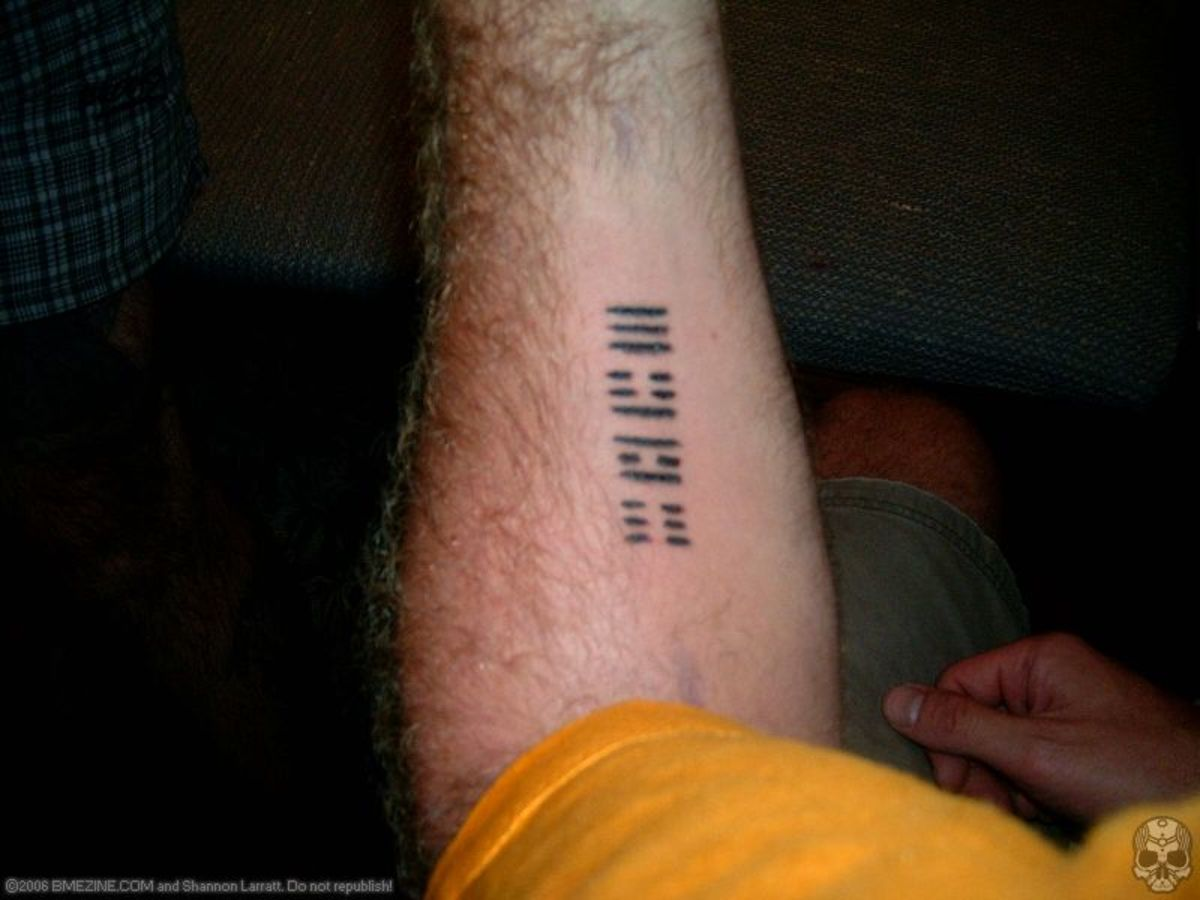 barcode generator for tattoos. Name done in barcode