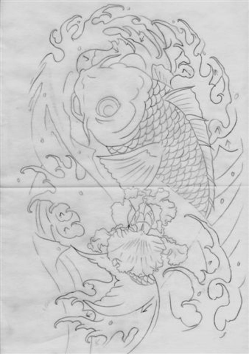 Here is the line drawing of the koi tattoo, design by Bill Liberty.