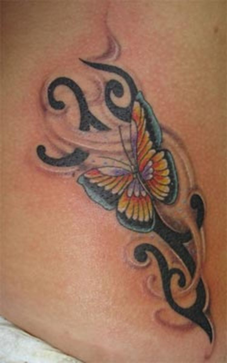 design tribal tattoo and butterfly tattoo good placed for arm tattoo, lower front body tattoo or foot tattoo