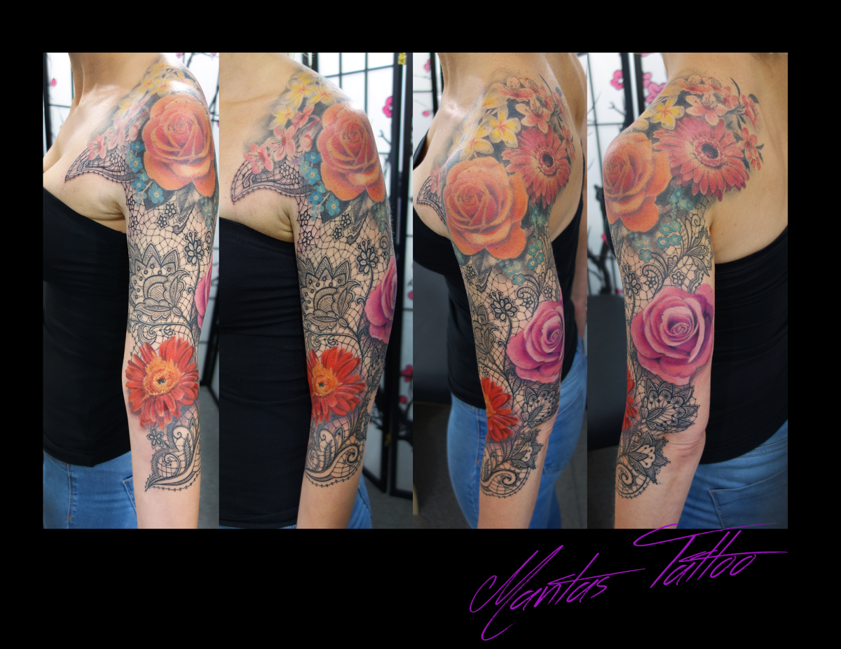 Lace and flowers tattoo