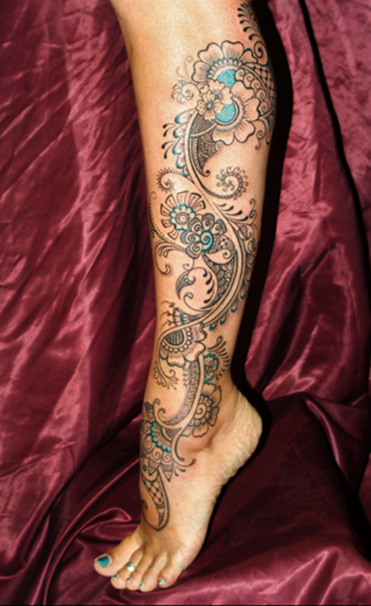 A tattoo inspired by mehndi, or henna tattoos.