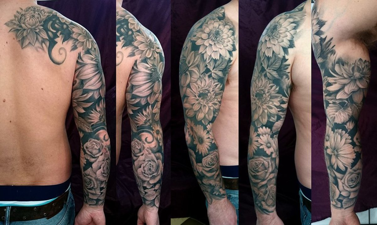 Floral sleeve with Dahlias and Roses