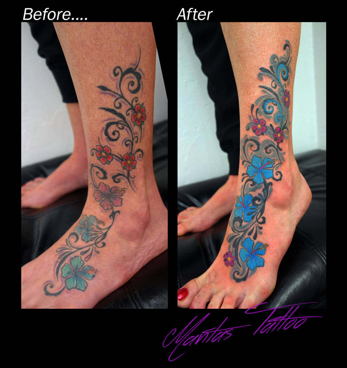 Rework of old and tired tattoo into a fresh and bright one