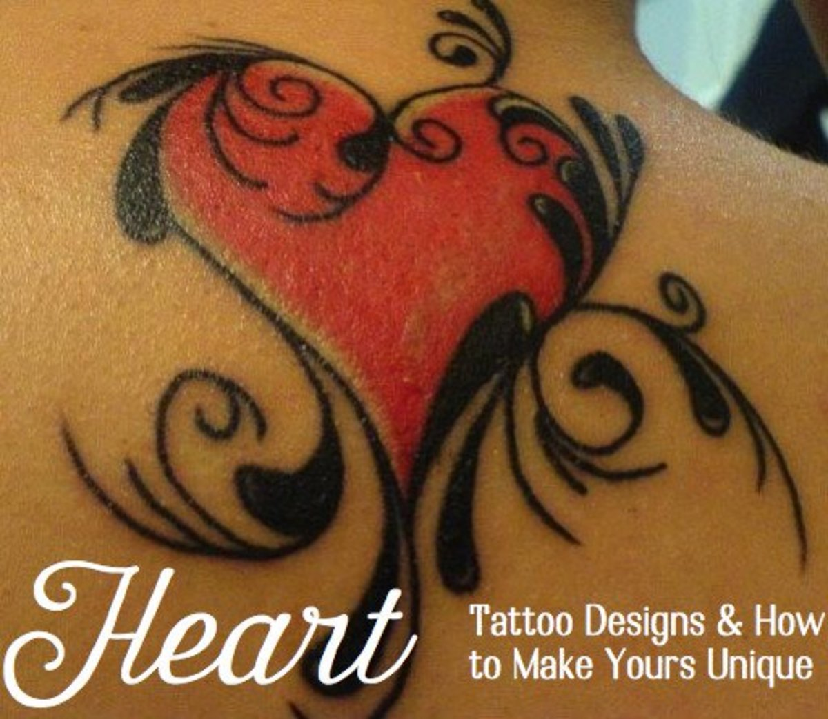 Inking style, size, and accompaniments can alter the meaning of a heart tattoo.