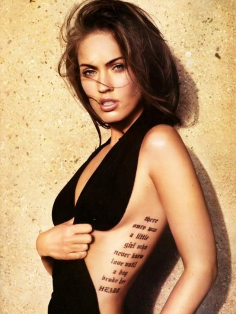 "Megan Fox's ""broken heart"" rib tattoo."